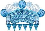 Unique Party - 83115 - Article de Fête d'Anniversaire de 40 ans - Glitz Kit pour 8 personnes - Bleu