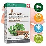 Dr.Dünner EssenzaVita 60 Kapseln unterstützt die Normalisierung des Blutzuckerspiegels | Portulak, Zimt & Chrom | Nahrungsergänzung + vegan + glutenfrei + laktosefrei + ohne Gentechnik