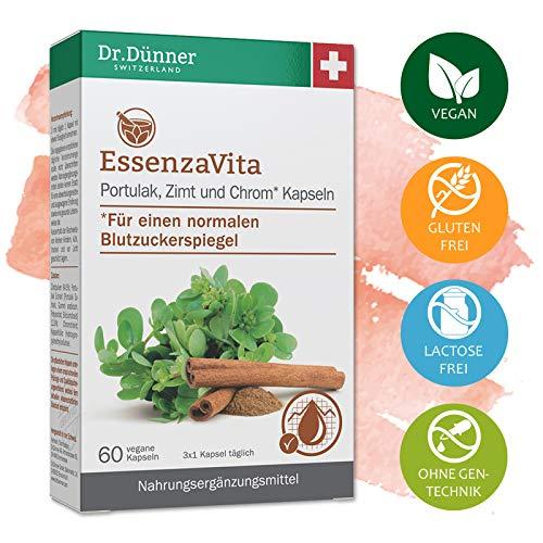 Dr.Dünner EssenzaVita 60 Kapseln unterstützt die Normalisierung des Blutzuckerspiegels   Portulak, Zimt & Chrom   Nahrungsergänzung + vegan + glutenfrei + laktosefrei + ohne Gentechnik