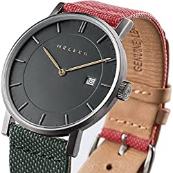 Meller Unisex Nag Biplanet Minimalist Watch with Grey Analogue Display and Leather Strap