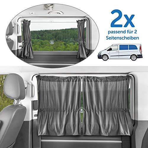 Zamboo 2x Sonnenschutz Vorhang für Kleinbusse und Vans - leichte Gardinen für Seitenscheiben, Saugnäpfe für einfache Montage - Grau