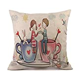 Bett Sofa Kissen Cover sunnymi Happy ROSE Valentine's Day Stil Kissenbezug,Baumwolle Leinen,Ecksofa Bettwäsche Schlafsofa (H, 45 * 45 cm)
