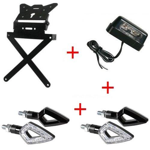 Kennzeichenhalter für Motorrad universal Kit Sport + 4Blinker + Kennzeichenbeleuchtung Lampa genehmigten Suzuki GSX 650F 2007–2017