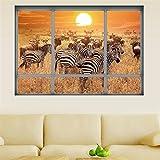 Weaeo Africa Foresta Paesaggio Finestra 3D Parete Zebra Adesivo Vinilico Cavallo Di Arte Murale Per Bambini In Camera Soggiorno Divano Decorazione Di Sfondo