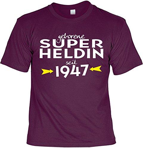 T-Shirt zum Geburtstag: Geborene Super Heldin seit 1947 - Tolle Geschenkidee - Baujahr 1947 - Farbe: bordeauxrot Bordeauxrot