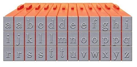 Mason Row XL-58007 36-Piece Lowercase Alphabet Clickable Bodoni Font Stamp Set