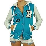 CBKTTRADE Damen College Jacke Old School Jacket Sweat Jacke Fox Hooded (XS, Fox Türkis)