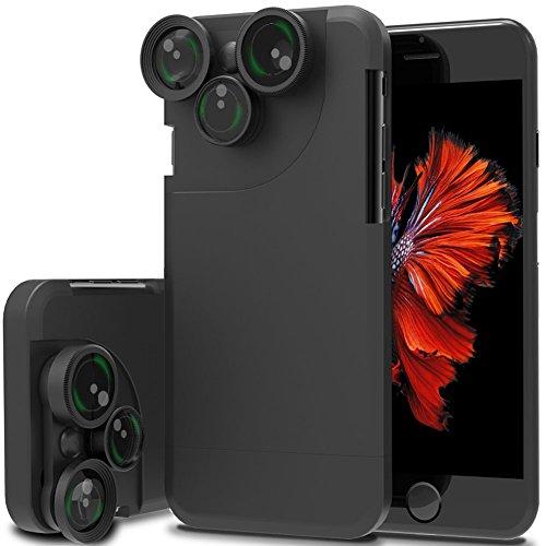 Arktis Hülle kompatibel mit iPhone 8 Plus und iPhone 7 Plus, 4 in 1 Objektiv-Schutzhülle Teleobjektiv Weitwinkelobjektiv Fisheye Makro (Canon Iphone-objektiv)