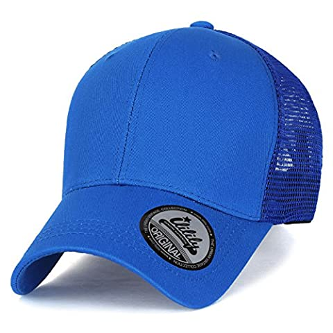ililily Extra Big Size Adjustable Mesh Back Curved Baseball Cap Trucker Hat (XL, Blue)