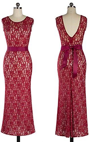 Wenseny Damen Kleider Mode Ärmellos Rückenfrei Spitzen Bodycon Hochzeitskleid Abendkleid Wein rot