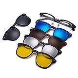 Magnético 5 Piezas Polarizadas Clip en Gafas de Sol Lentes Cuadrados Marco Plástico Para Conducción Nocturna 2218A