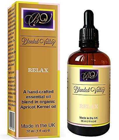 Ätherische Ölmischung für Entspannung - Ätherische Öle aus Lavendel, Weihrauch, Ylang-Ylang im Aprikosenkernöl. Für Aroma-Diffusor, Räucherstäbchen, Bad, Verwöhn-Spa. Für Stressabbau und Schlaf