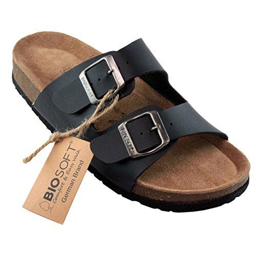 BIOSOFT Ann Damen Gastronomie - Service Clogs   Arbeitsschuhe   Sandale   Sandalette   Pantolette   Schlappen mit Verstellbarem Riemchen Verschluss - schwarz   Black 41