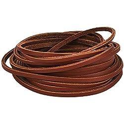 Mudder 3.5 mm Cordón de Cuero Plana Leather Cord Cintas de Cuero,Marrón
