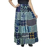 Mogul Interior Women Long Skirt Printed Patchwork Gypsy Flared Gujarati Dori Skirts Blue