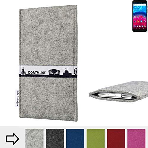 flat.design für Archos Core 57S Schutz Hülle Handy Case Skyline mit Webband Essen - Maßanfertigung der Schutztasche Handy-Tasche aus 100% Wollfilz (hellgrau) für Archos Core 57S