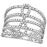 Jewels by Lux - Alianza abierta de oro blanco de 18 quilates para mujer con diamantes redondos de infinito, 3/4 quilates