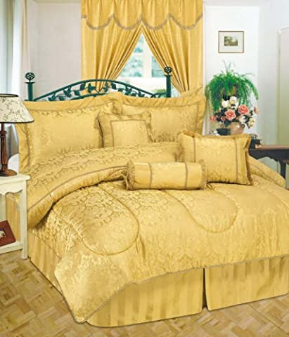Amazon Quilted 7 Pieces Super King Gold Bedspread Modern Jacquard Luxury Comforter Complete Bedding Set Includes Comforter, Base Valance Sheet, Sham Pillow Cases, Cushions & Neck Rolll.
