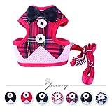 Jamory Hundegeschirr Geschirr Welpengeschirr Brustgeschirr Harness Welpen Verstellbar mit Schleife Abendkleid (S, Rotes Karo)
