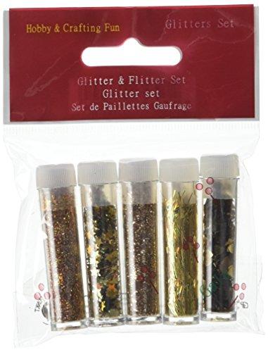 u.i.t 5tubi Gala Glitter e Flitter Sets, Oro, Confezione da 5