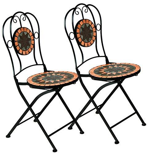 Deuba Mosaikstühle Terrakotta 2er Set I Klappbar I Sitzhöhe 45cm I Metall Stabil Mosaik Balkonstuhl Gartenstuhl Klappstuhl