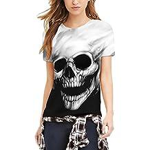 T Shirt Hombre Verano Elegantes Manga Corta Cuello Redondo Slim Fit Divertidas Calavera Impresión Hippies Camisetas