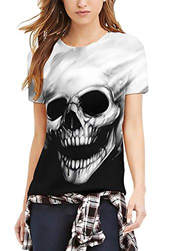 T shirt donna estive elegante manica corta rotondo collo slim fit divertenti creativo bones skull pattern san valentino moda casual t-shirt per unisex donne uomo