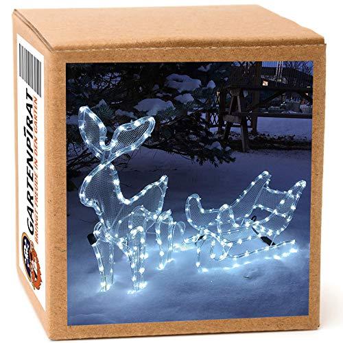 Rentier mit Schlitten beleuchtet LED kaltweiß außen von Gartenpirat®