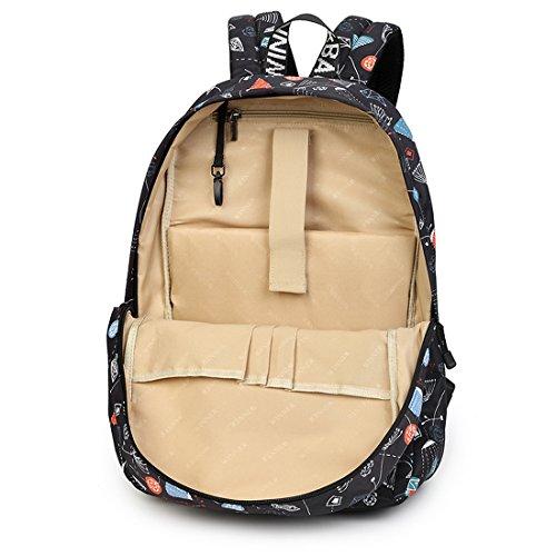 Joymoze Wasserdicht Freizeit Schüler Rucksack Süßes Muster Schule Bücher Tasche für Mädchen Rosa 841 Blau