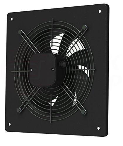 Ventola assiale/radiale ad alte prestazioni per ambienti domestici o industriali di grandi dimensioni, aria di alimentazione e di scarico, aspirazione, adatta per tubazioni, pareti, tetti, 4. Axial Ventilator (Metall schwarz), Ø 300 mm
