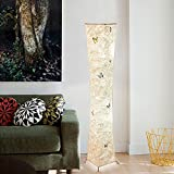 Jscarlife Twist Tower Morden Slim Warm White Color Changing LED Floor Lamp Fabric Shade Washable Warm Atmosphere with 2 Bulbs for Home Livingroom Bedroom