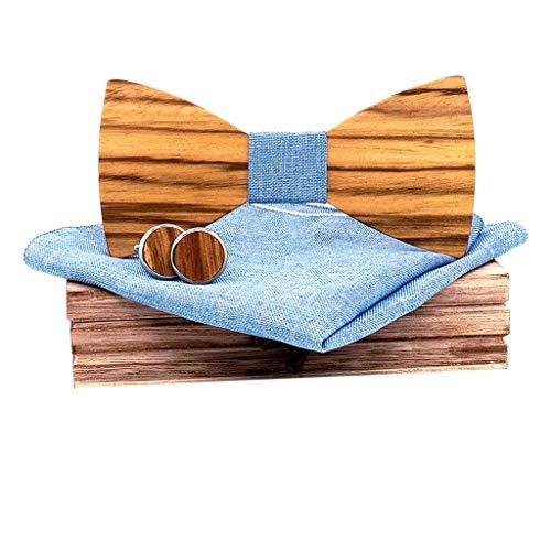 Fenverk 4 Stück Holzfliege Göteborg aus verschiedenen Hölzern mit wechselbarem Stoff Handgefertigt Trendartikel Mascherl Schleife Querbinder - Vier Stück Panel