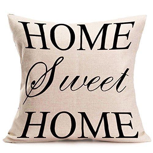 Dylandy cuscino federa per cuscino di cotone lino piazza federa per divano casa auto ufficio Decor 43,2x 43,2cm (Home Sweet Home)