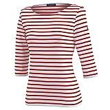 Saint James Damen Shirt 3/4 Arm Garde Cote III R, Größe:34 (T 36), Farben:Rot(4)