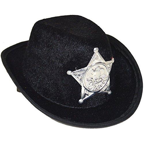 PARTY DISCOUNT Mini-Hut Sheriff mit 2 Clips, schwarz