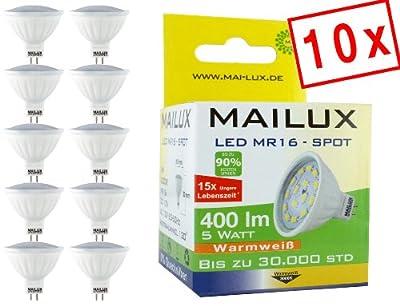 10 X Mailux Mr16 Gu53 Led Spotlight 5 Watt 400 Lumen Warmwei 3000k Ra 80 Abstrahlwinkel 120 Neu Ovp von MAILUX