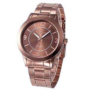 Damen Uhren Beiläufig Mode Uhr Rostfreier Stahl Sport Quarz Stunde Analoge Armbanduhr für Frau Groveerble
