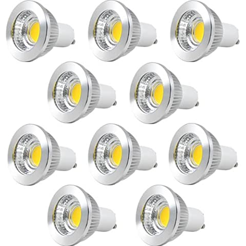 MENGS® Pack de 10 Bombilla lámpara LED COB 5 Watt GU10 con carcasa de aluminio y cubierta de cristal, blanca cálida 2700K, AC