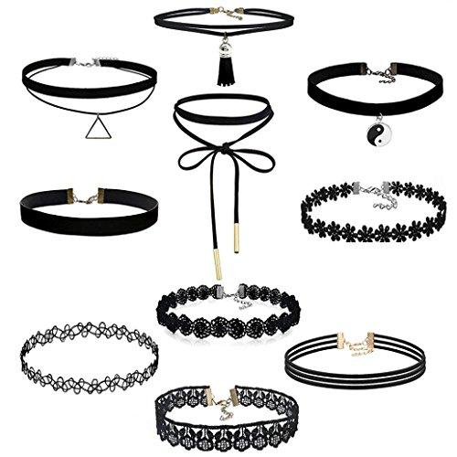 JACKY 10 Pieces Choker Necklace Set Stretch Velvet Classic Gothic Tattoo Lace Pendants