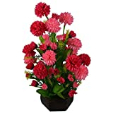 #1: Kaykon Artificial Flower Dalia Multi colour premium Flower Plant 30cms/12 inchs with Wooden pot (Red Pink)