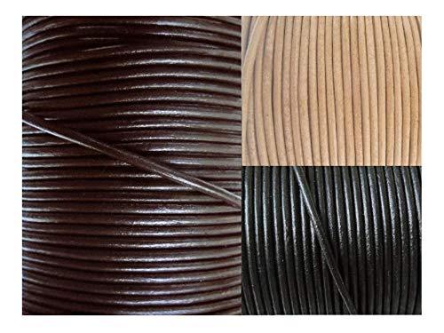 AURORIS - Lederband rund Ø 1 mm - Länge/Farbe wählbar - Variante: 10m / dunkelbraun