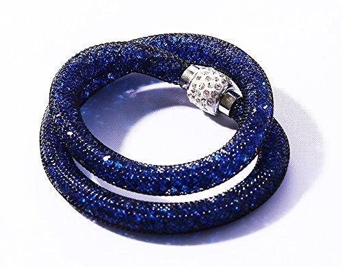 Bracciale a due con cristallini luccicanti e pietra Shamballa gioiello a passo di moda di colore marino Marchio MyBeautyworld24