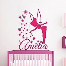 Nombre personalizado etiquetas de la pared de la hada de la etiqueta engomada del vinilo de la estrella del ángel de la muchacha Nursery dormitorio del arte en murales Ah163