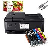 Canon PIXMA TR8550 Tintenstrahldrucker Multifunktionsgerät schwarz (Drucker, Scanner, Kopierer, Fax) + USB Kabel & 5 komp. realink Druckerpatronen (Drucken per USB oder WLAN)