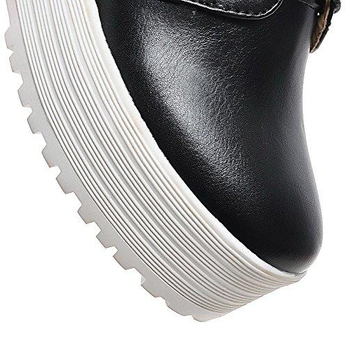AgooLar Femme Pu Cuir à Talon Haut Rond Couleur Unie Lacet Chaussures Légeres Noir