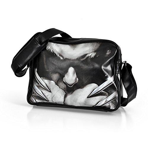 Lobezno - bolso bandolera con las garras - con la licencia oficial de Marvel, estampado frontal grande, negro