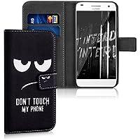 kwmobile Funda para Huawei Ascend G7 - Wallet Case plegable de cuero sintético - Cover con tapa tarjetero y soporte Diseño Don't touch my Phone en blanco negro