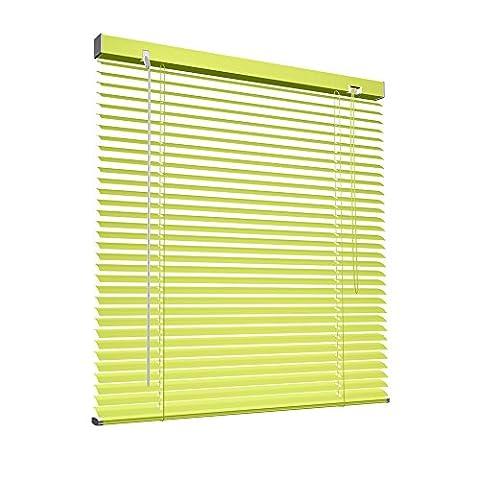 Victoria M Store vénitien en aluminium pour fenêtres et portes - sans pré-perçage, clips de serrage inclus - 80 x 130 cm jaune