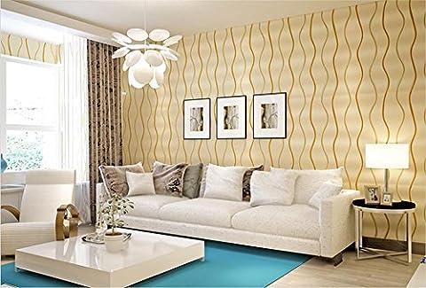 H&M Fond d'écran non-tissé rayures simples modernes ondulation de l'eau courbe décoration chambre TV mur vitre-papier peint -53cm (W) * 10m (L) , cream color