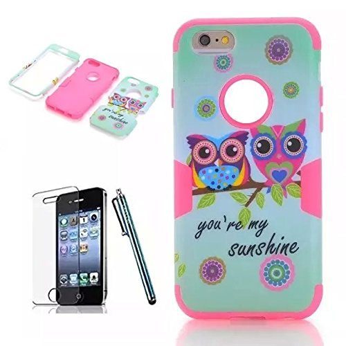 iPhone 6 Case Sunsline Owls, iPhone 6 4.7 Case, i6 Cover, Lantier 3 in 1 Combo Tuff Hybrid Armor Shockproof Cover Skin Protective Case for iPhone 6 4.7inch/Pink Sunsline Owl Hot Pink